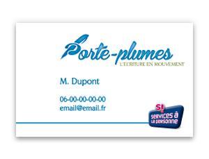 Carte de visite Porte-Plumes, aide à la personne (recto)
